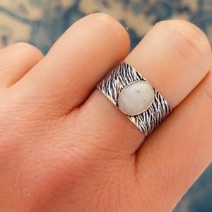 Moonstone Band Ring 925 Sterling Silver Ring